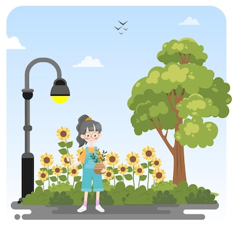 Cute girl picking sun flower illustration background
