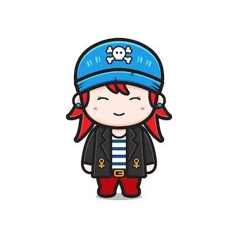 かわいい女の子の海賊キャラクター漫画アイコンイラスト。孤立したフラット漫画スタイルをデザインする Premiumベクター