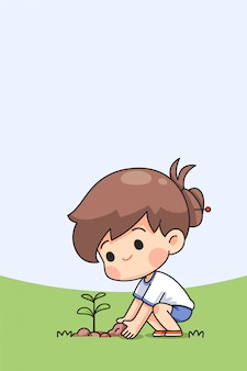 かわいい女の子は木を植える