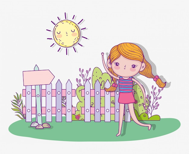 Cute girl play and running with sun