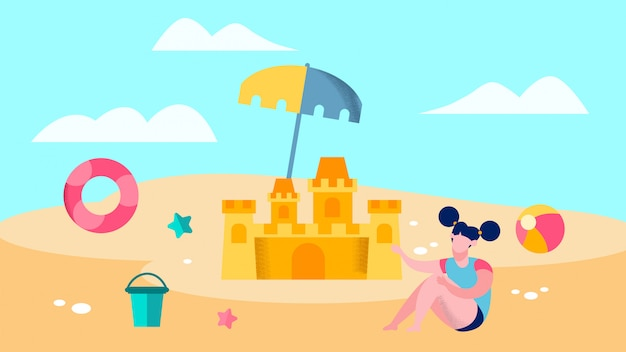 Cute girl playing on beach vector illustration