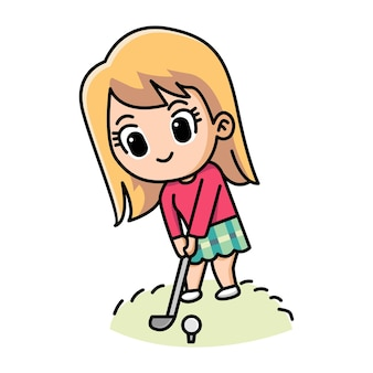 Cute girl playing golf cartoon illustration