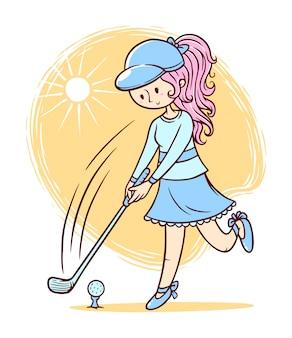 Cute girl playing golf