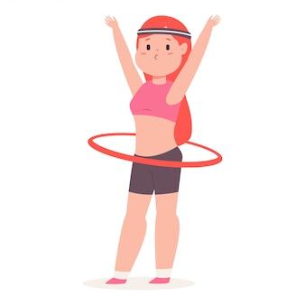 Cute girl playing hula hoop,  cartoon  illustration.