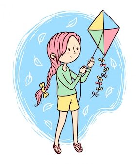 Cute girl playing kites illustration