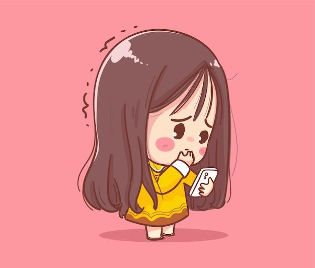 キャラクターデザインと白い背景で隔離の携帯電話を再生するかわいい女の子。