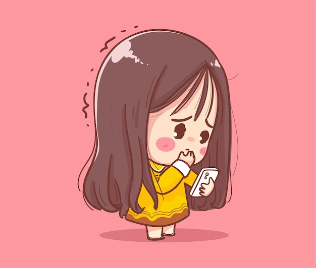 Cute girl playing mobile phone isolated on white background with character design.