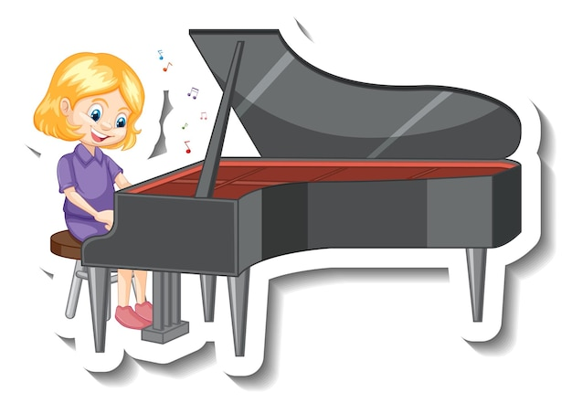 Cute girl playing piano cartoon character sticker
