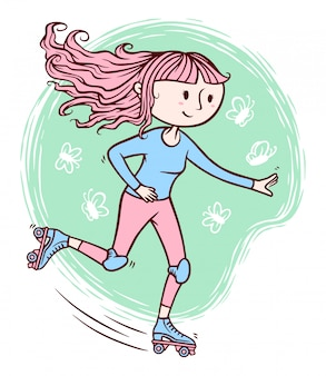 Cute girl playing roller skates illustration