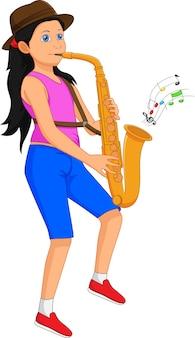 Милая девушка играет на саксофоне