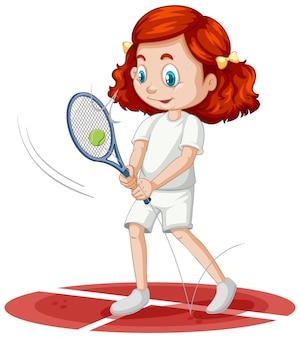 고립 된 테니스 만화 캐릭터를 재생 하는 귀여운 소녀