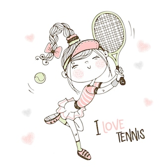Cute girl playing tennis. i love tennis.