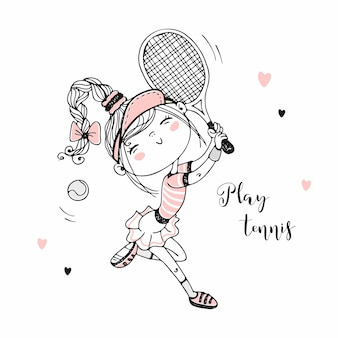 Cute girl playing tennis.  illustration