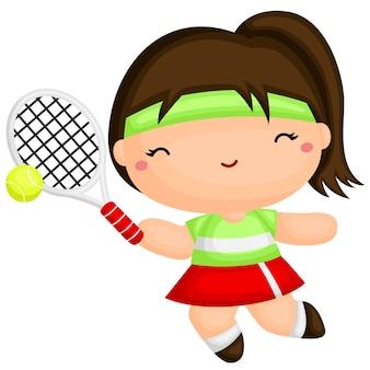 かわいい女の子、テニス、遊ぶ Premiumベクター
