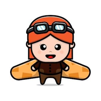 Cute girl playing toy plane cardboard cartoon illustration