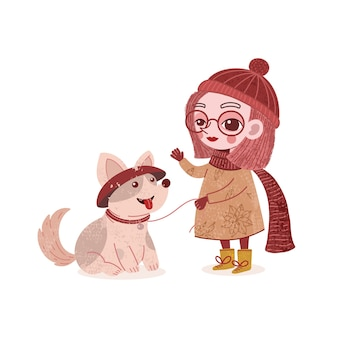 Cute girl playing with her pet dog illustration