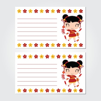 Cute girl plays firecrackers on flower border vector cartoon for chinese new year card