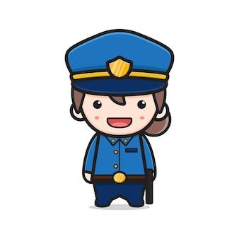 귀여운 여자 경찰 만화 아이콘 벡터 일러스트 레이 션. 디자인 고립 된 평면 만화 스타일