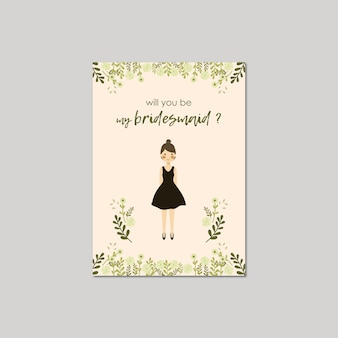 Cute girl portrait will you be my bridesmaid invitation