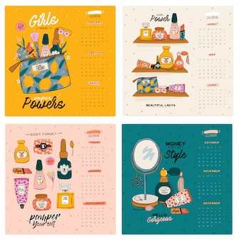 Cute girl power skincare wall calendar. 2021 yearly planner with all months. good organizer and schedule. trendy female illustration