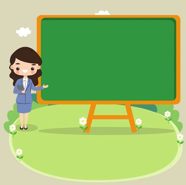 Cute girl presentations with pointing to blackboard