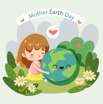 Cute girl protecting global for mother earth day poster