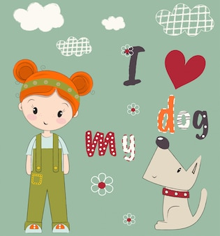 Cute girl and puppy drawn vector illustration
