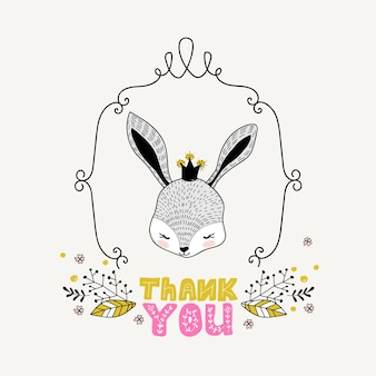 Cute girl rabbit hand drawn doodle card