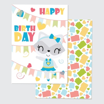 Cute girl raccoon and colorful buntings for happy birthday card set