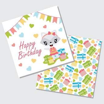 Cute girl raccoon, garland and box gifts for happy birthday card set