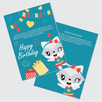 Cute girl raccoon and gift boxes for happy birthday card set