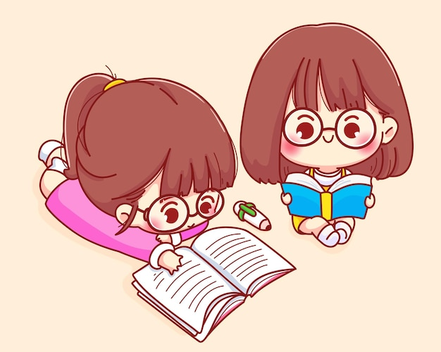 귀여운 소녀 읽기 책 만화 캐릭터 일러스트