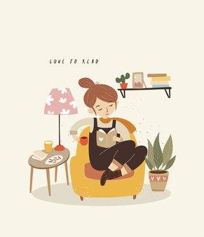 コーヒーと本を読んでかわいい女の子