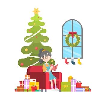 かわいい女の子読書本クリスマスイブプレゼントギフトイラスト背景