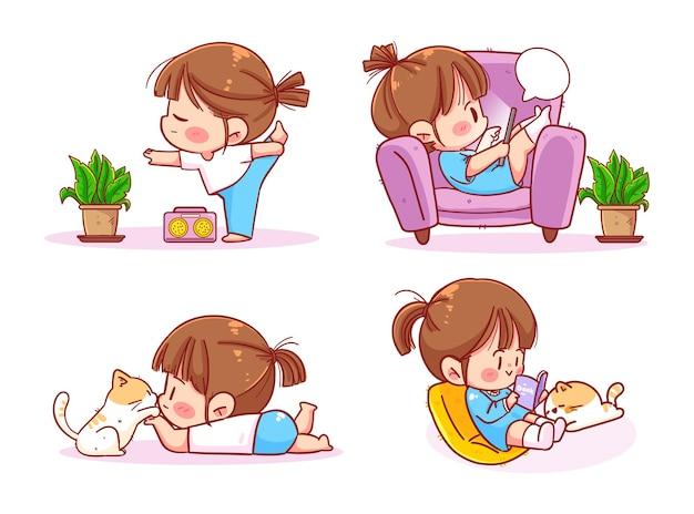 Cute girl reading book doing yoga quarantine due to coronavirus home activities stay home concept cartoon art illustration