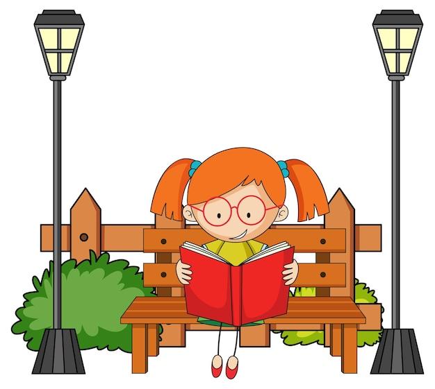 공원 요소와 책 낙서 만화 캐릭터를 읽고 귀여운 소녀