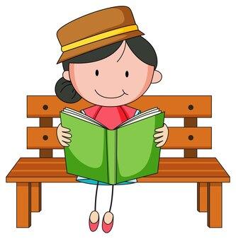 Personaggio dei cartoni animati di scarabocchio del libro di lettura della ragazza carina