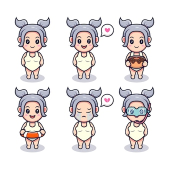 Cute girl ready to swim with different expressions set