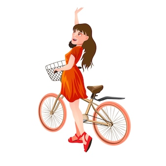 Cute girl in a red dress stands next to the bike and waves her hand. isolated illustration in cartoon style.