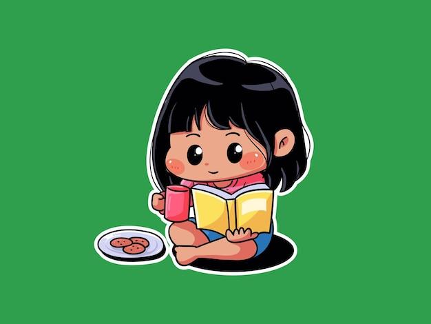 Милая девушка расслабиться съесть печенье и прочитать книгу манга иллюстрации