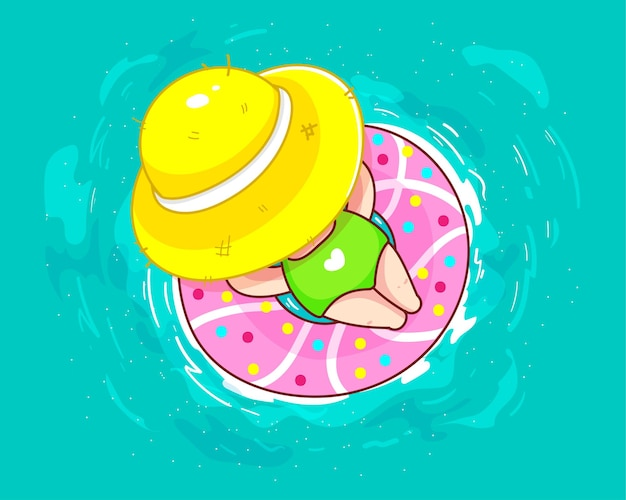 여름 만화 그림에서 수영장에서 도넛 형 고무 링에 편안한 귀여운 소녀