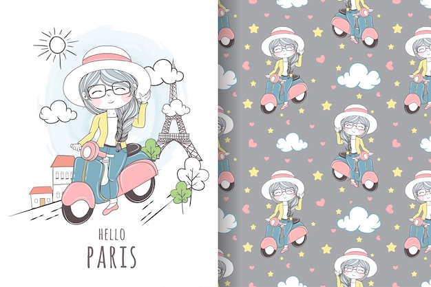 Cute girl ridding scooter in paris seamless pattern
