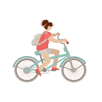 Cute girl ride a city bike. smiling happy woman on a bicycle,  illustration, doing summer sport activities, isolated on white background