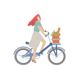 Cute girl ride a city bike with product basket, full of bread, greenery food, vegetables. smiling happy girl on a bicycle,  illustration, riding from food shop, doing summer sport activity.
