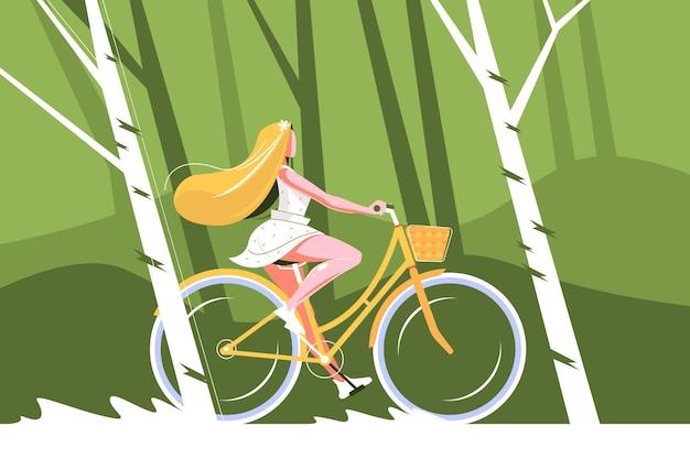 自転車に乗ってかわいい女の子のイラスト。
