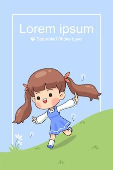 Cute girl run on green field in spring time