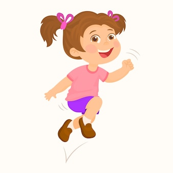 Cute girl running and jumping