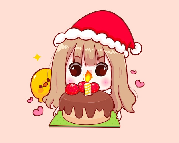 Cute girl in santa claus costume hold cake illustration