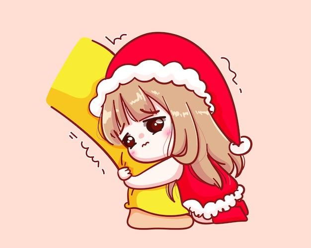 Cute girl in santa claus costume hug his leg begging illustration