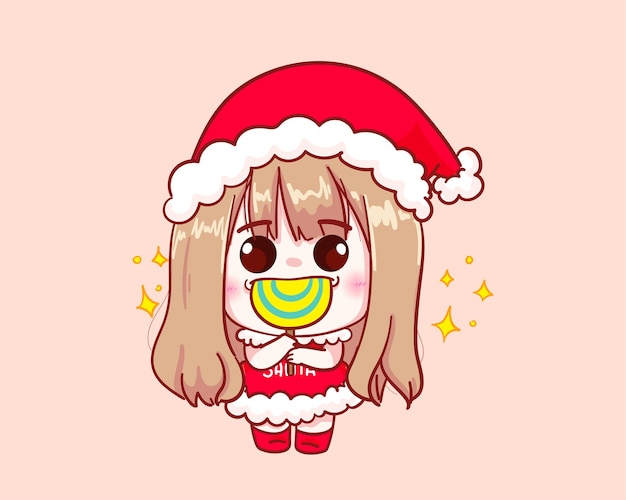 Cute girl in santa claus costume lollipop illustration